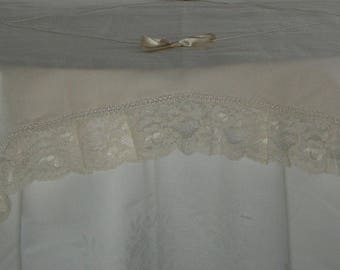 Shabby chic Linen tablecloths and lace