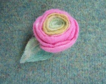 Ranunculus Rose Flower Felt Jewelry Brooch Pink Textile Felt Art Pin Brooch Fabric Boho Jewellery Shower Hostess Gift For Her Doughter OOAK