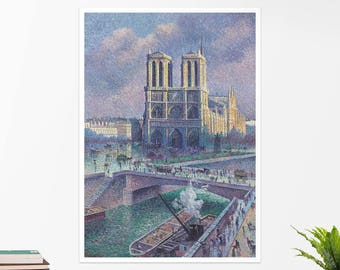 "Maximilien Luce, ""Notre-Dame de Paris"". Art poster, art print, rolled canvas, art canvas, wall art, wall decor"