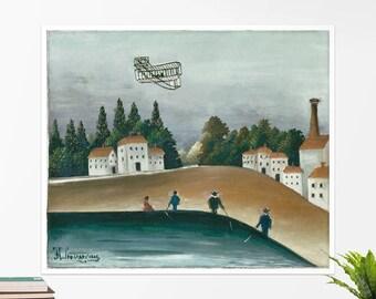 "Henri Rousseau, ""The Fishermen and the Biplane"". Art poster, art print, rolled canvas, art canvas, wall art, wall decor"