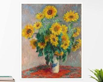 """Claude Monet, """"Bouquet of Sunflowers"""". Art poster, art print, rolled canvas, art canvas, wall art, wall decor"""