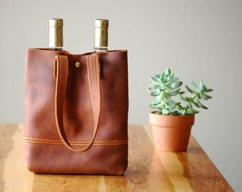 rust leather wine bag | wine bottle tote | leather tote bag | holiday wine tote | wine gift | every day leather bag | holiday food gift