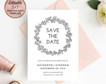 Floral Wedding Save The Date Template Download, Printable Editable PDF Wedding Save The Date Card, MInimal Save The Date Instant Download.