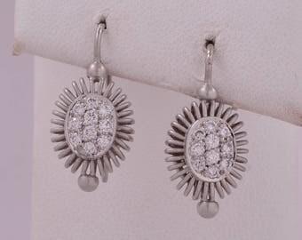 Authentic Michael B. Balarina Eurowire Platinum Pave Diamond Drop Earrings