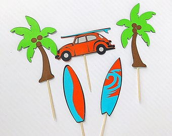 Surfing Cupcake Toppers/ Surf Buggy Cupcake Topper/ VW cake decorations/ Surfboard Cupcake Toppers/ Palm Tree Cupcake Toppers/ Surfing Party