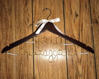 Name and Date with Pearls Wedding Gown Hanger