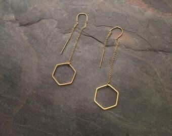Hip Hexagon threader earrings