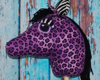 Purple Leopard print and Zebra Bow Ride on Stick pony for kids