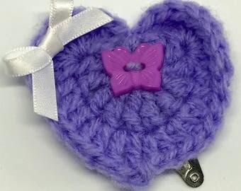 Purple Heart Hair Clip