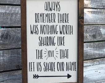 Always Remember There Was Nothing Worth Sharing Like The Love That Let Us Share Our Name Rustic Framed Wood Sign | Avett Brothers Inspired