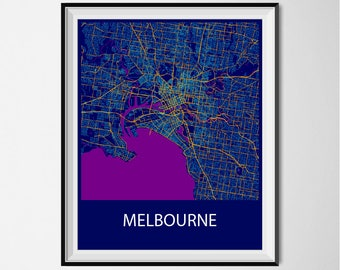 Melbourne Map Poster Print - Night