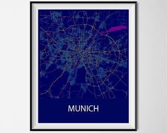 Munich Map Poster Print - Night