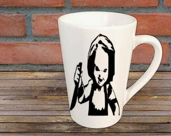 Chucky Childs Play Horror Mug Coffee Cup Halloween Gift Home Decor Kitchen Bar Gift for Her Him Any Color Custom Merch Massacre