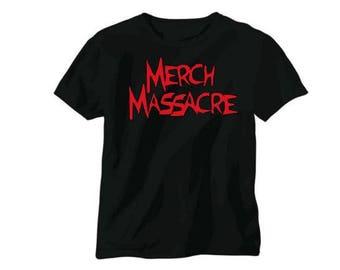 Merch Massacre Logo Horror Unisex T Shirt Many Sizes Colors Custom Halloween Scary