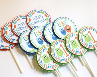 Monster Birthday Cupcake Toppers - Little Monster Birthday Party - Monster Birthday Cupcake Picks