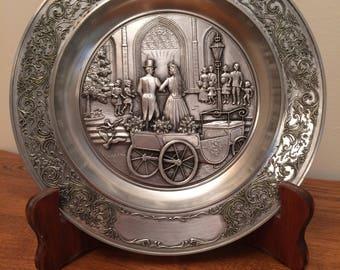 Vintage Original Zinn Becker Filigran Gravur Pewter Wedding Plate