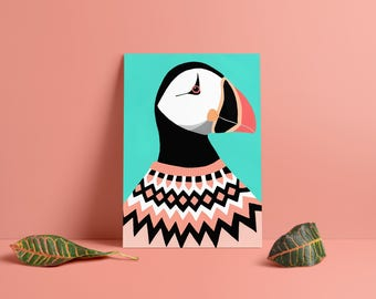 Puffin in an Icelandic sweater art print on glossy 300g paper