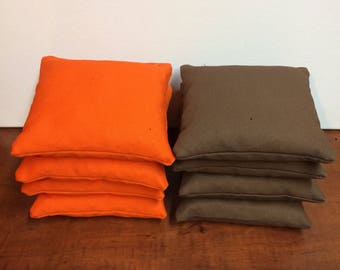 Orange and Brown Cornhole bags set