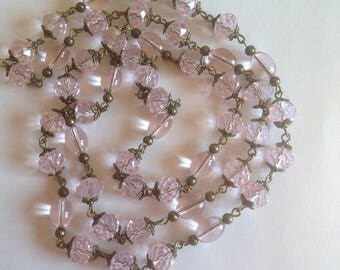 Long pink crystal glass necklace flapper necklace long necklace beaded necklace handmade necklace