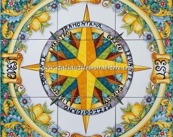 Green Wind Rose - Hand Painted Nautical Wall Art Tiles