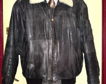 Giorgio Ferrari B-15 Flight Pilot Bomber Distressed Leather Jacket Removable Lambfur Collar Warm Liner size XL