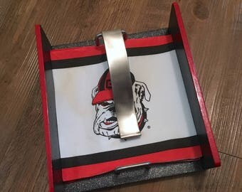 Outdoor Tailgate Napkin Holder - Georgia Bulldogs and/or Atlanta Falcons red, black and silver