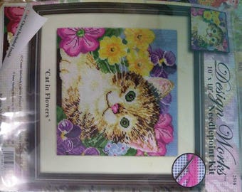 Design Works 10 by 10 needlepoint kit kat and flowers