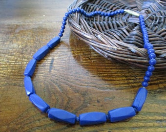 Lapis Lazuli Necklace, Lapis Lazuli jewelry, Lapis Lazuli Choker, Blue Choker, Vintage Necklace, Blue Stone Necklace, Something Blue