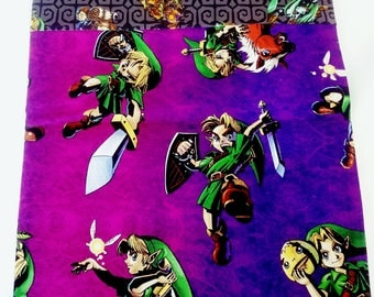 Legend of ZELDA pillowcase, Majora's Mask, Link and Epona, Navi, Speciality Pillowcase, Purple and green pillowcase