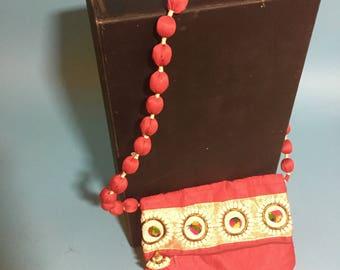 Metallic bag, Red Bag, pom pom purse, silk Bag, shoulder strap purse, Oriental handbag, Woman's vintage purse, Funky bag, Silk purse