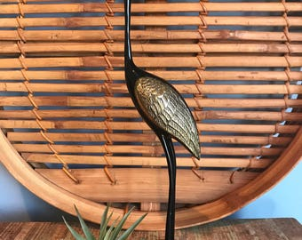 Mid Century Modern Vintage Black Brass Enamel Crane Figure// Boho Decor // Bohemian Gypsy // MCM // Bird