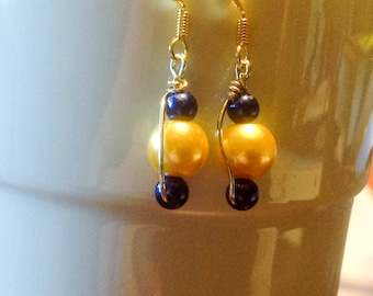 Gold & Blue wire wrapped dangly earrings
