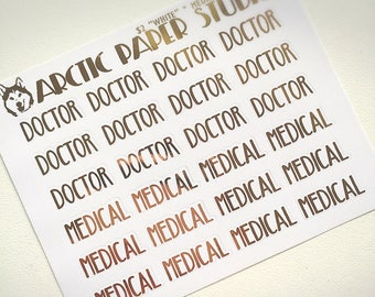 Medical CAPS SCRIPTS - FOILED Sampler Event Icons Planner Stickers