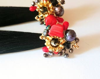 Black or red tassel earrings with black pearls, corals and crystals