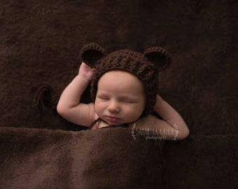 Crochet Bear Bonnet/Crochet Bonnet/Bear Hat/Made to Order