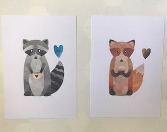 The Fox & raccoon - postcard
