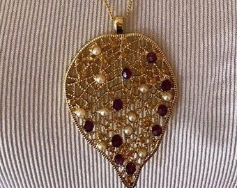 Gold Leaf Drop Pendant