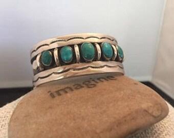 Navajo Silver & Turquoise Cuffed Bracelet