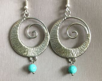 Silver and turquoise earrings, dangle earrings,