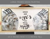 """Under His Wings You Will Find Refuge Large Wood Psalms Painting 25.5"""" x 13"""", Scripture Art, Bible Verse Art, Christian Wall Decor"""