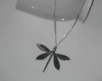 Antique Style Dragonfly Necklace, Silver Dragonfly Necklace, Dragonfly Pendant, Dragonfly Jewelry, Dragonfly Gift, Long Chain Necklace