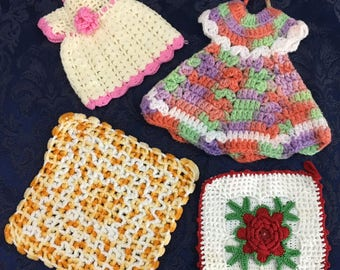 Lot of 4 Vintage Hand Crafted Crochet Pot Holder Dresses  and more