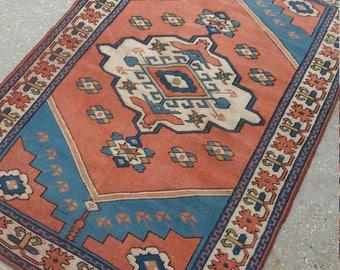 "Vintage Oushak Rug Turkish Oushak Rug,4'3""×6Feet,Home Decorative Floor Rugs,Area Rug, Turkish Carpet, Home Living,Oushak Rug Blue,Wool Rugs"