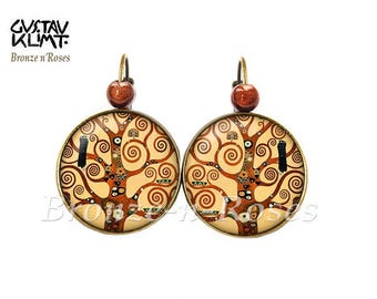Earrings tree of life ° ° spirals cabochon bronze Gustav klimt reproduction sleepers