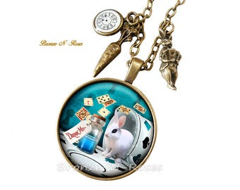 Necklace Drink me Alice in Wonderland watch glass cabochon