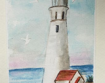 Lighthouse greeting csrd /Watercolor Card/Lighthouse scene/5 x 7 card/Card and envelope/Lighthouse watercolor/Watercolor lighthouse