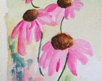 Coneflower greeting card/Watercolor Greeting Card/Watercolor flowers/Floral greeting card/Card and envelope/Coneflowers/Floral watercolor