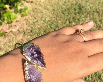 Raw Amethyst ArrowHead Adjustable Gold Bangle|Boho Jewelry|Healing Crystals and Stones|Bohemian Style|Bangle Bracelet|Wife Gift|Raw Crystal
