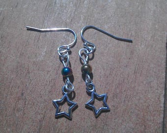 Silver plated hematite and star charm dangle earrings