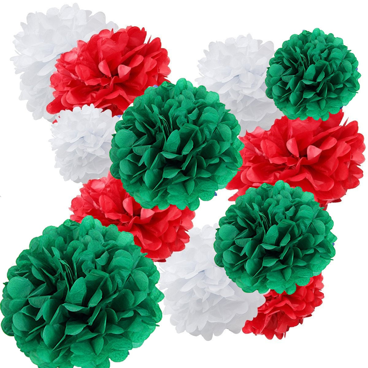 18pcs Christmas Decoration Kit Mixed Red Green White Tissue Paper ...
